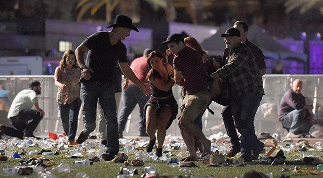 Festival-goers flee the scene. Source: Getty Images