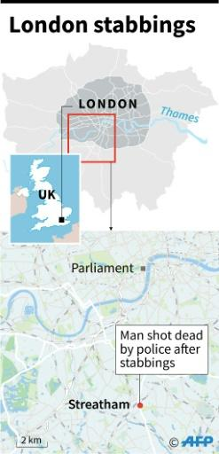"""Map of London showing Streatham where a man was shot dead by police Sunday after several people were stabbled in a """"terrorist related"""" incident"""