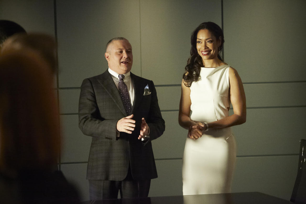 "Conleth Hill as Edward Darby and Gina Torres as Jessica Pearson in the ""Suits"" Season 3 Premiere, ""The Arrangement."""