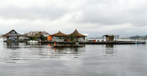 The 'island' floats on a platform made from hundreds of thousands of discarded plastic bottles