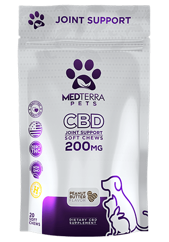 Medterra&amp;rsquo;s CBD Pet Chews combine the purest form of 99% CBD with tasty ingredients to make a snack your pet will enjoy. Each peanut butter chew contains 10mg of CBD, so you can easily track how much CBD your pet consumes daily and our products contain ZERO THC, eliminating any psychoactive ingredients. Medterra&amp;rsquo;s pet chews combine CBD, glucosamine, MSM and chondroitin to support joint health. <strong><span>Find them for $30 on Medterra</span></strong>.