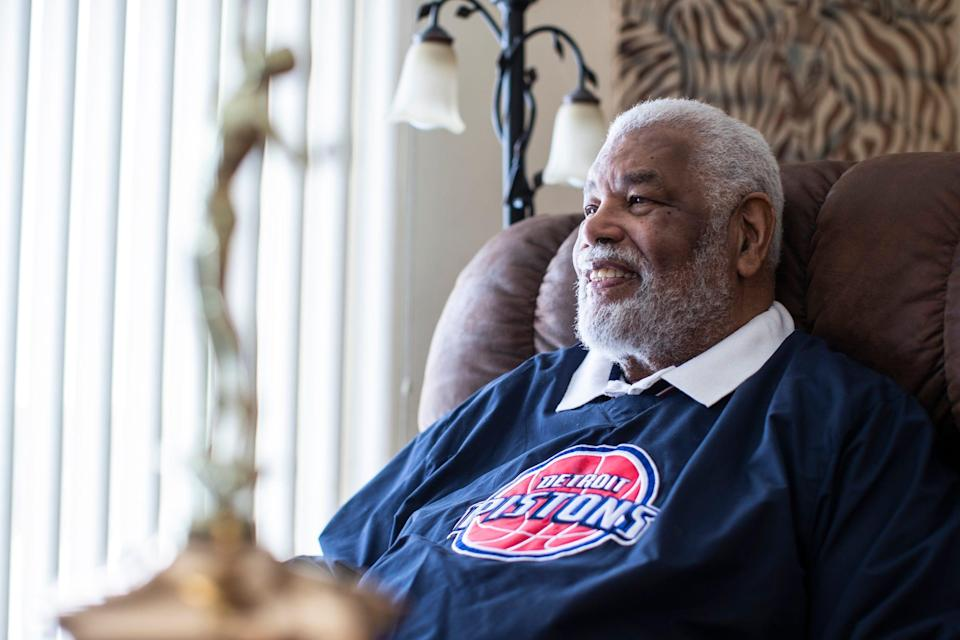 Ray Scott, 82, who was awarded NBA Coach of the Year for the 1973-74 season, poses for photo at home in Ypsilanti Township on Saturday, Feb. 13, 2021.
