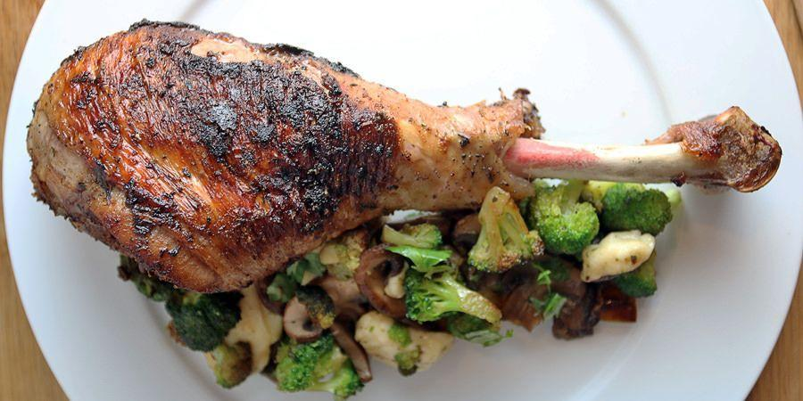 "<p>It's definitely okay to enjoy a delicious turkey on Thanksgiving—it's the main event! This roasted turkey leg recipe from <a href=""https://www.ruled.me/oven-roasted-turkey-legs/"" rel=""nofollow noopener"" target=""_blank"" data-ylk=""slk:Ruled. me"" class=""link rapid-noclick-resp"">Ruled. me</a> keeps portion control in mind (no food coma as expected) and it works well with any sides, like broccoli or roasted Brussels sprouts.</p>"