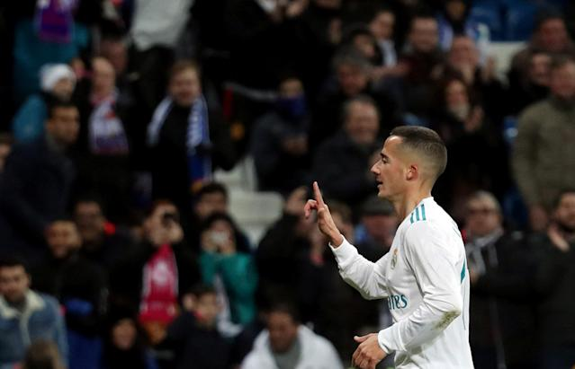 Soccer Football - La Liga Santander - Real Madrid vs Girona - Santiago Bernabeu, Madrid, Spain - March 18, 2018 Real Madrid's Lucas Vazquez celebrates scoring their third goal REUTERS/Sergio Perez
