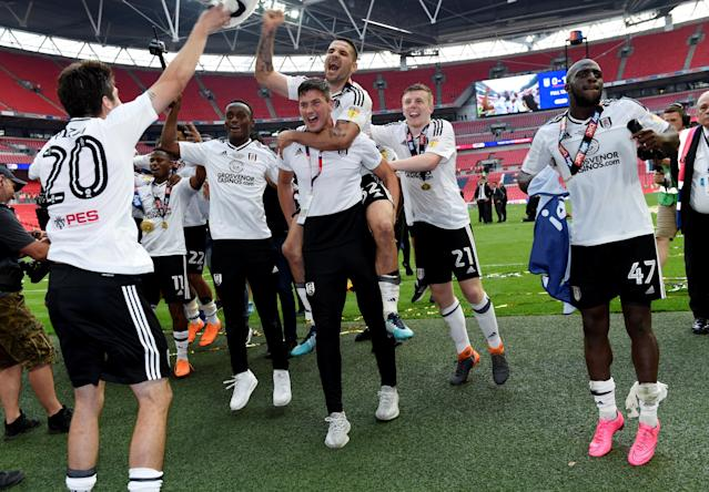"Soccer Football - Championship Play-Off Final - Fulham vs Aston Villa - Wembley Stadium, London, Britain - May 26, 2018 Fulham's Aleksandar Mitrovic and team mates celebrate promotion to the Premier League Action Images via Reuters/Tony O'Brien EDITORIAL USE ONLY. No use with unauthorized audio, video, data, fixture lists, club/league logos or ""live"" services. Online in-match use limited to 75 images, no video emulation. No use in betting, games or single club/league/player publications. Please contact your account representative for further details."