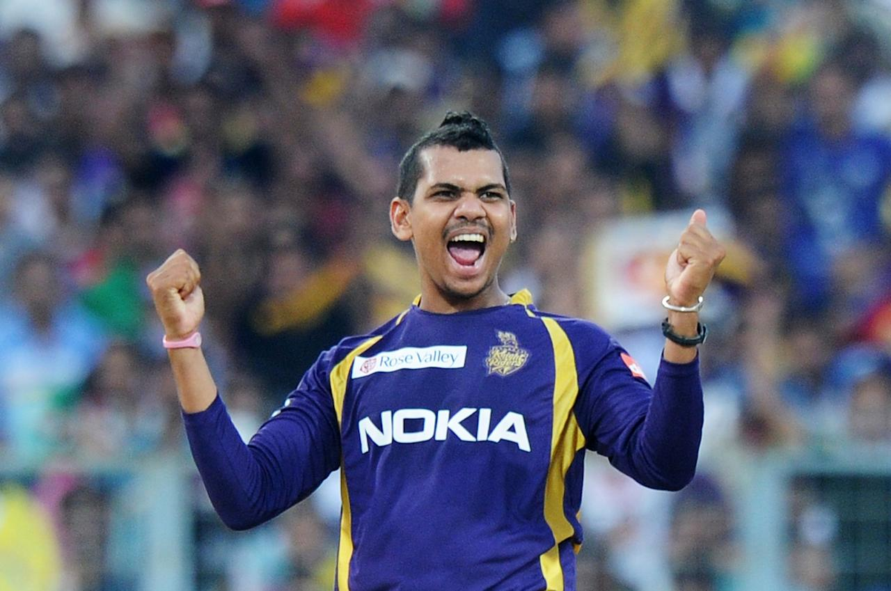 Kolkata Knight Riders bowler Sunil Narine celebrates after taking the wicket of Kings XI Punjab batsman Harmeet Singh during the IPL Twenty20 cricket match between Kolkata Knight Riders and Kings XI Punjab at The Eden Gardens in Kolkata on April 15, 2012. RESTRICTED TO EDITORIAL USE. MOBILE USE WITHIN NEWS PACKAGE. AFP PHOTO/Dibyangshu SARKAR (Photo credit should read DIBYANGSHU SARKAR/AFP/Getty Images)