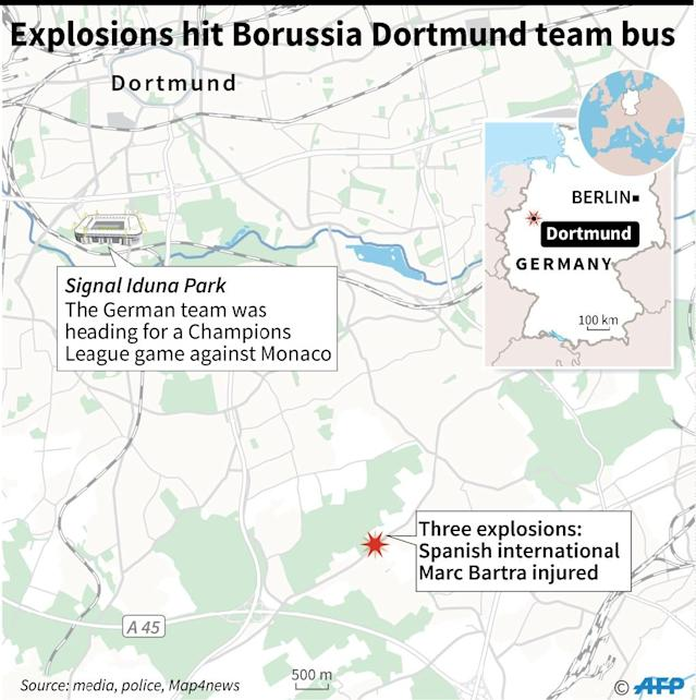 Explosions wound player on Dortmund team bus (AFP Photo/-)