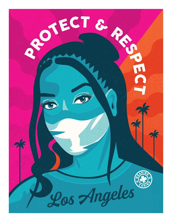 "Mayor Garcetti revealed this poster, designed by Camilla Lonis of Shepard Fairey's Studio Number One, on Wednesday. <span class=""copyright"">(Studio Number One)</span>"