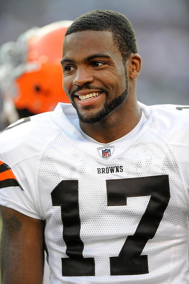 Braylon Edwards #17 of the Cleveland Browns watches the game against the Baltimore Ravens September 21, 2008 at M&T Bank Stadium in Baltimore, Maryland. (Photo by G Fiume/Getty Images)