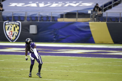 Baltimore Ravens outside linebacker Pernell McPhee reacts after sacking New York Giants quarterback Daniel Jones during the second half of an NFL football game, Sunday, Dec. 27, 2020, in Baltimore. (AP Photo/Gail Burton)