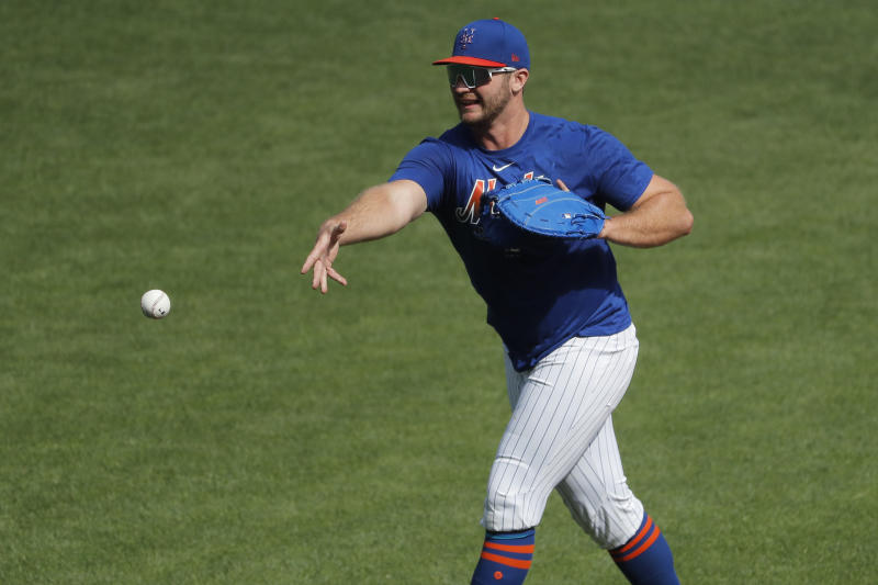 New York Mets first baseman Pete Alonso participates in a baseball workout at Citi Field, Sunday, July 5, 2020, in New York. (AP Photo/Seth Wenig)