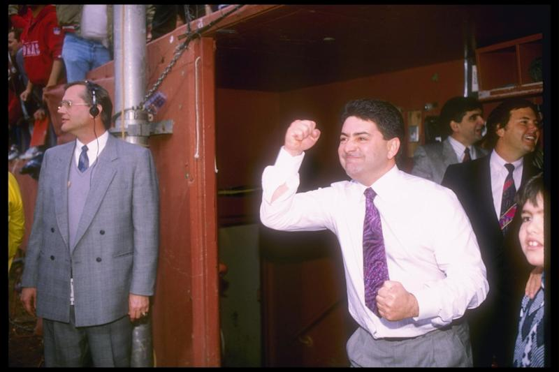 San Francisco 49ers owner Eddie DeBartolo celebrates during a playoff game against the Minnesota Vikings at Candlestick Park in 1990: Getty Images