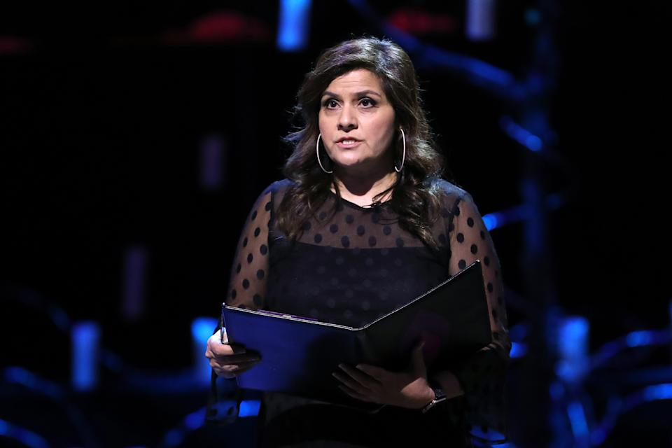 LONDON, ENGLAND - JANUARY 27: Nina Wadia reads during  the UK Holocaust Memorial Day Commemorative Ceremony in Westminster on January 27, 2020 in London, England. 2020 marks the 75th anniversary of the liberation of Auschwitz-Birkenau. Holocaust memorial day takes place annually on the 27th of January, remembering the liberation of Auschwitz-Birkenau, and honoring survivors of the Holocaust, Nazi Persecution, and subsequent genocides in Bosnia, Cambodia, Rwanda, Darfur. (Photo by Chris Jackson/Getty Images)