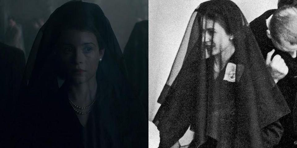 <p>During the mourning period of King George, Princess Elizabeth, Princess Margaret and their mother were seen in black long sleeve mid-length dresses and thin black veils.</p>