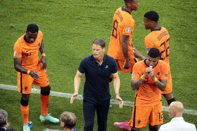 Holland boss Frank De Boer (centre) did not discuss his future after the loss