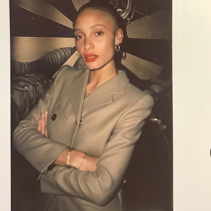 British beauty Adwoa Aboah proves that glowing skin and a coral red lip go hand in hand.