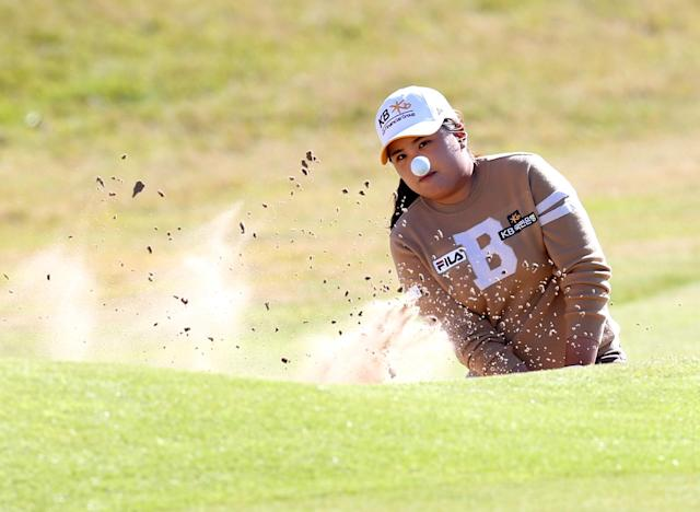 South Korea's Inbee Park plays her shot from the bunker at the 18th green during the Final day of the Women's British Open golf championship at the Royal Birkdale Golf Club, in Southport, England, Sunday, July 13, 2014. (AP Photo/Scott Heppell)