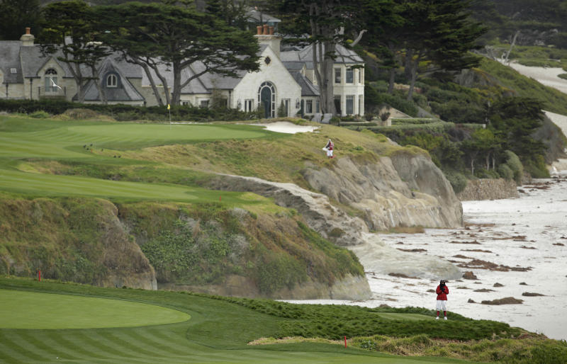 Rebuilt green leads to an old tee at Pebble Beach