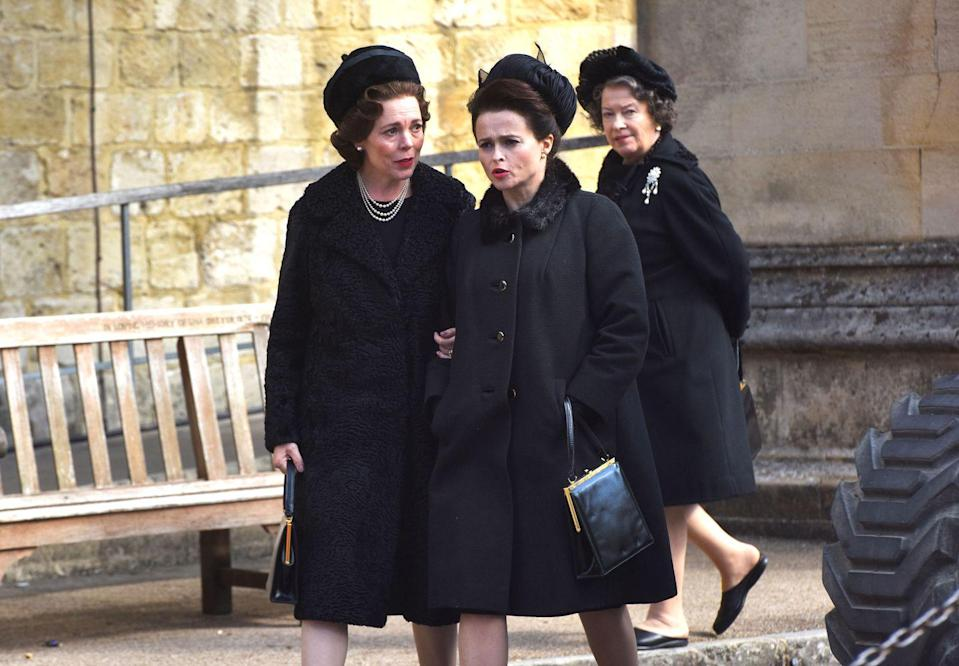 Olivia Colman and Helen Boham-Carter play the Queen and Princess Margaret
