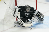 Los Angeles Kings goaltender Jonathan Quick makes a save during the second period of the team's NHL hockey game against the Colorado Avalanche on Thursday, Jan. 21, 2021, in Los Angeles. (AP Photo/Ashley Landis)