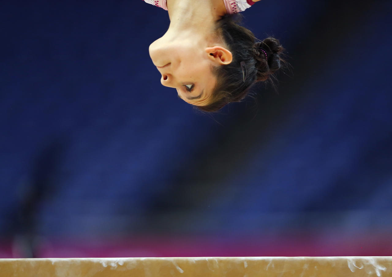 Elsa Garcia Rodriguez Blancas of Mexico attends a gymnastics training session at the O2 Arena before the start of the London 2012 Olympic Games July 26, 2012.   REUTERS/Mike Blake (BRITAIN  - Tags: SPORT OLYMPICS SPORT GYMNASTICS TPX IMAGES OF THE DAY)