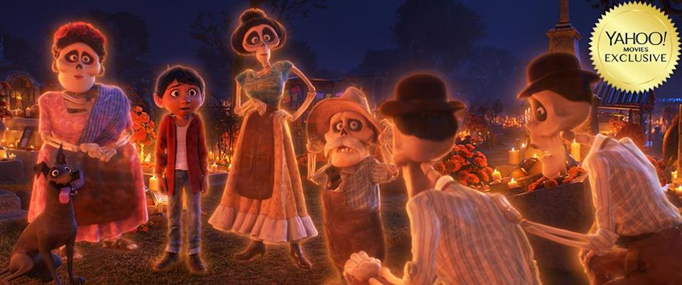 """<p>Stock up on the hankies, because <a rel=""""nofollow"""" href=""""https://www.yahoo.com/movies/tagged/pixar"""" data-ylk=""""slk:Pixar"""" class=""""link rapid-noclick-resp"""">Pixar</a> is back. This technicolor <em>Día De Los Muertos</em> reverie focuses on a guitar-slinging boy who, along his trusted pup, is transported to the Land of the Dead, where he'll unlock secrets about his <em>familia</em>. 