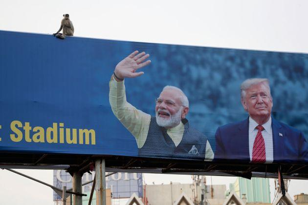 A hoarding welcoming U.S. President Donald Trump ahead of his visit to Ahmedabad.