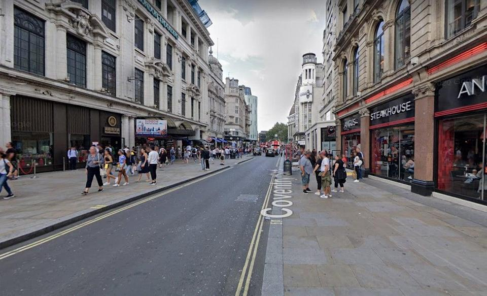 <p>The attack took place in Coventry Street in the West End of London</p> (Google)