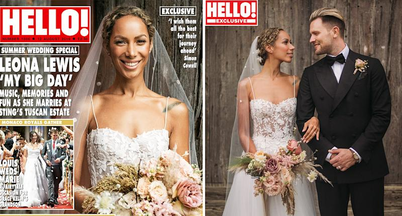Leona Lewis pictured on her wedding day with husband Dennis Jaunch. [Photo: Hello!/Press Association Images]