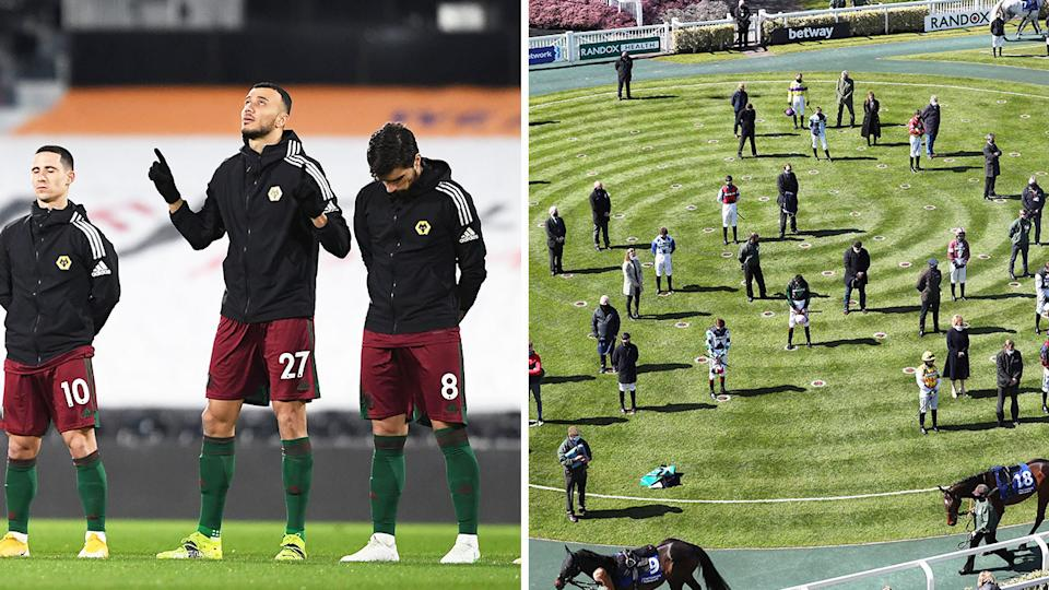 Wolverhampton players (pictured left) pay tribute to Prince Philip and jockeys and trainers (pictured right) social-distance during a minute silence.