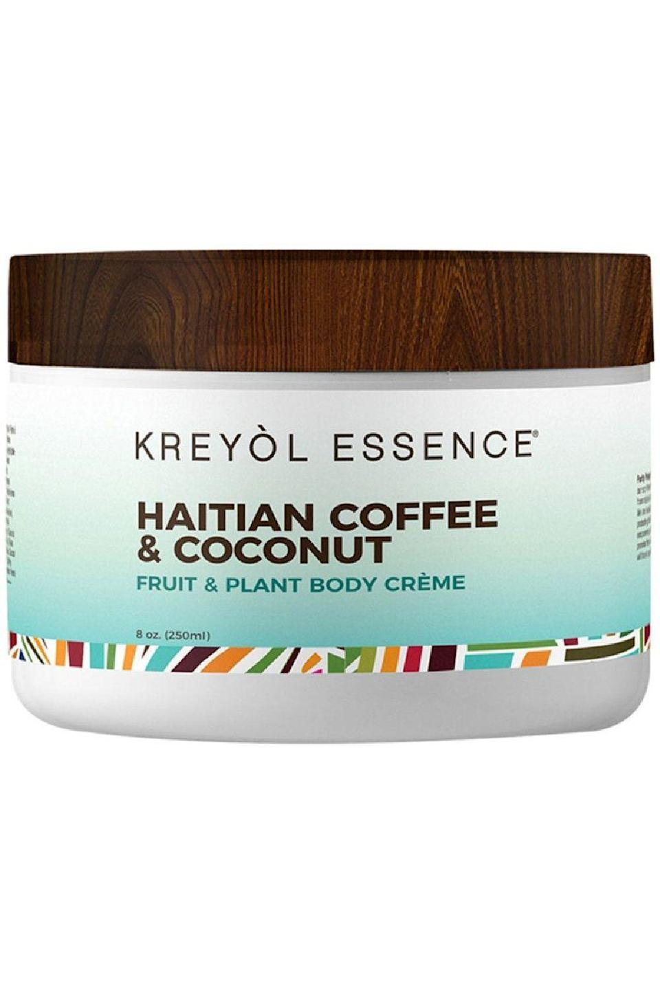 """<p><strong>Kreyòl Essence</strong></p><p>amazon.com</p><p><strong>$39.99</strong></p><p><a href=""""https://www.amazon.com/KREYOL-ESSENCE-Haitian-Coffee-Coconut/dp/B08D7SMFC2/?tag=syn-yahoo-20&ascsubtag=%5Bartid%7C10049.g.23323942%5Bsrc%7Cyahoo-us"""" rel=""""nofollow noopener"""" target=""""_blank"""" data-ylk=""""slk:Shop Now"""" class=""""link rapid-noclick-resp"""">Shop Now</a></p><p>No, it's not technically a stretch mark cream, but <strong>this non-greasy body cream includes the brand's Haitian Black <a href=""""https://www.cosmopolitan.com/style-beauty/beauty/a29752258/castor-oil-for-hair-growth/"""" rel=""""nofollow noopener"""" target=""""_blank"""" data-ylk=""""slk:castor oil"""" class=""""link rapid-noclick-resp"""">castor oil</a>, which is commonly used as a <a href=""""https://www.cosmopolitan.com/style-beauty/beauty/g23548613/stretch-mark-oils/"""" rel=""""nofollow noopener"""" target=""""_blank"""" data-ylk=""""slk:stretch mark oil"""" class=""""link rapid-noclick-resp"""">stretch mark oil</a>, thanks its high <a href=""""https://www.cosmopolitan.com/style-beauty/beauty/a27609307/vitamin-e-for-skin-benefits-products/"""" rel=""""nofollow noopener"""" target=""""_blank"""" data-ylk=""""slk:vitamin E"""" class=""""link rapid-noclick-resp"""">vitamin E</a></strong> content. Vitamin E is known for its nourishing, moisturizing, and soothing properties—all three things you want when treating stretch marks.</p>"""