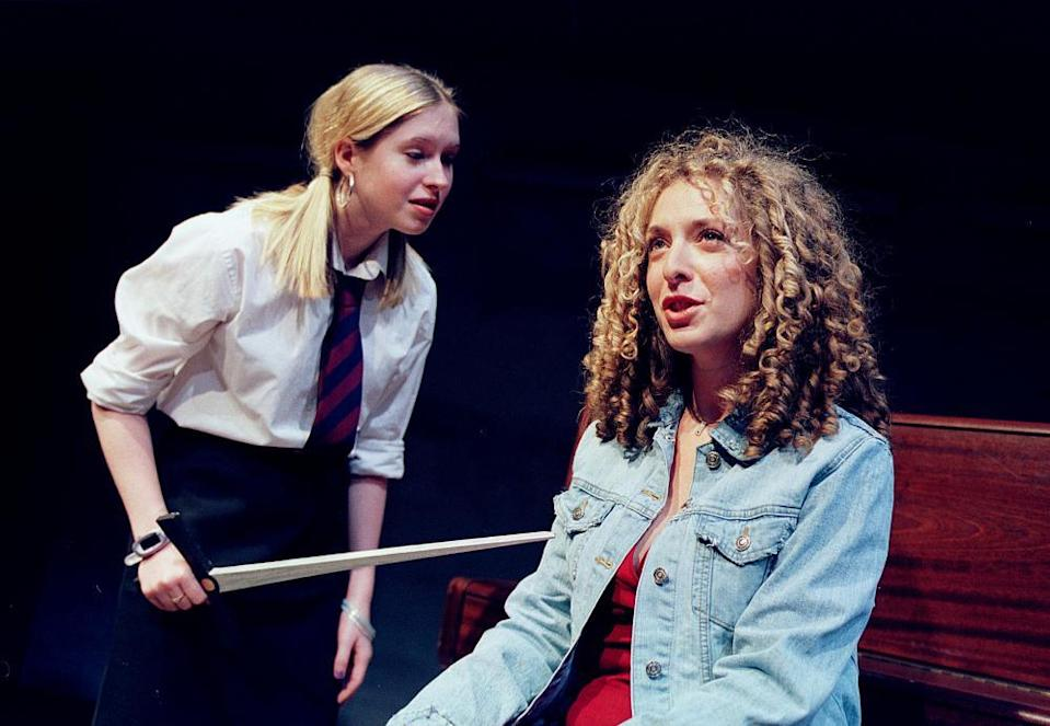 Brooke Kinsella and Tracy-Ann Oberman in School Play at Soho theatre, London, in 2001.