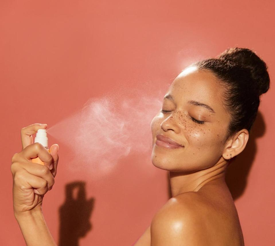 The sunscreen mist can be applied without messing up makeup or introducing germs to the face.