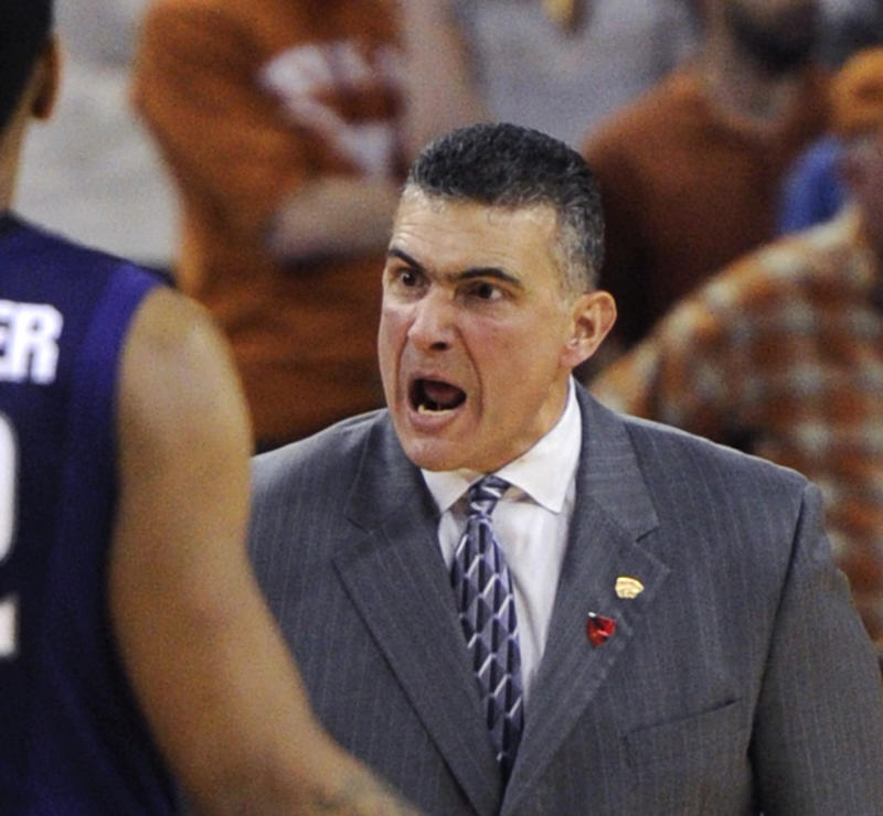 Kansas State coach Frank Martin expresses his thoughts during the second half of Kansas State's 75-70 win over Texas in an NCAA college basketball game Monday, Feb. 28, 2011, in Austin, Texas. (AP Photo/Michael Thomas)