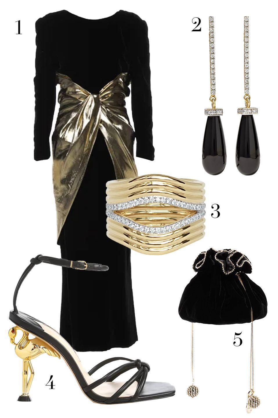 "<p>Sometimes you find just the right party dress... but don't exactly have a party for it yet. A head-turning discovery, like this Valentino dress, is worth the wait. Let it take center stage with coordinating black and gold accessories that offer just the right amount of sparkle. </p><ol><li><a href=""https://go.skimresources.com?id=74968X1525087&xs=1&url=https%3A%2F%2Fwww.therealreal.com%2Fproducts%2Fwomen%2Fclothing%2Fdresses%2Fvalentino-vintage-long-dress-7q6ko%3Fposition%3D14"" rel=""nofollow noopener"" target=""_blank"" data-ylk=""slk:Valentino via RealReal"" class=""link rapid-noclick-resp"">Valentino via RealReal</a> 2. <a href=""https://go.skimresources.com?id=74968X1525087&xs=1&url=https%3A%2F%2Fwww.net-a-porter.com%2Fen-us%2Fshop%2Fproduct%2Fmateo%2F14-karat-gold-onyx-and-diamond-earrings%2F1225843"" rel=""nofollow noopener"" target=""_blank"" data-ylk=""slk:Mateo"" class=""link rapid-noclick-resp"">Mateo</a> 3. <a href=""https://go.skimresources.com?id=74968X1525087&xs=1&url=https%3A%2F%2Fwww.almasika.com%2Fcollections%2Frings%2Fproducts%2F17"" rel=""nofollow noopener"" target=""_blank"" data-ylk=""slk:Almasika"" class=""link rapid-noclick-resp"">Almasika</a> 4. <a href=""https://go.skimresources.com?id=74968X1525087&xs=1&url=https%3A%2F%2Fwww.saksfifthavenue.com%2Fsophia-webster-flo-flamingo-heel-leather-sandals%2Fproduct%2F0400012530132%3FFOLDER%253C%253Efolder_id%3D2534374306624269%26R%3D5057467214155%26P_name%3DSophia%2BWebster%26N%3D306624269%2B4294929607%2B4294929608%2B4294877656%26bmUID%3DnddGCRa"" rel=""nofollow noopener"" target=""_blank"" data-ylk=""slk:Sophia Webster"" class=""link rapid-noclick-resp"">Sophia Webster</a> 5. <a href=""https://go.skimresources.com?id=74968X1525087&xs=1&url=https%3A%2F%2Fwww.farfetch.com%2Fshopping%2Fwomen%2Frosantica-black-moneta-clutch-bag-item-15143300.aspx%3Fstoreid%3D9359"" rel=""nofollow noopener"" target=""_blank"" data-ylk=""slk:Rosantica"" class=""link rapid-noclick-resp"">Rosantica</a></li></ol>"
