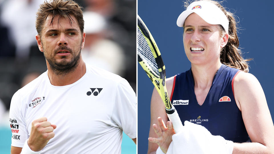 Stan Wawrinka and Johanna Konta, pictured here in action on the tennis court.
