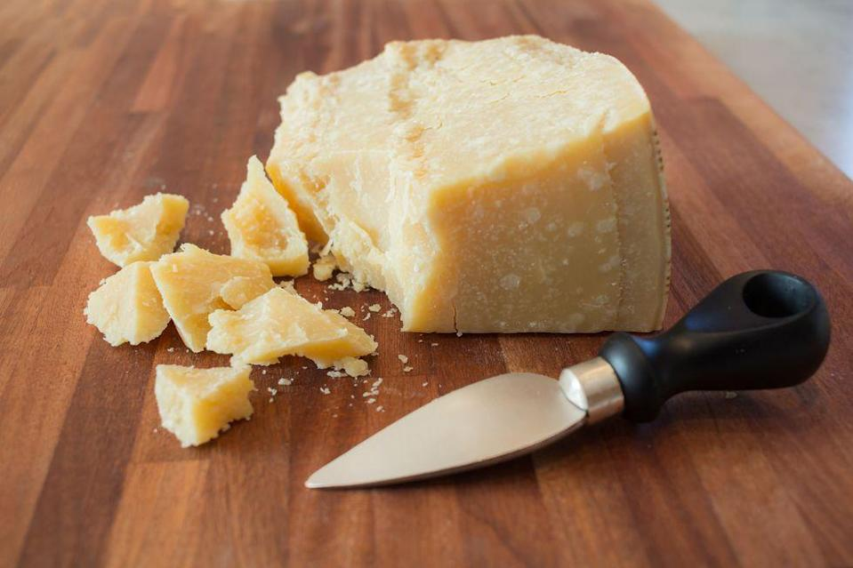 <p>Aged cheese (rule of thumb: that's anything hard like parmesan or gruyere) can last out of the fridge for a couple months. Store it in a cool, dark place.</p>