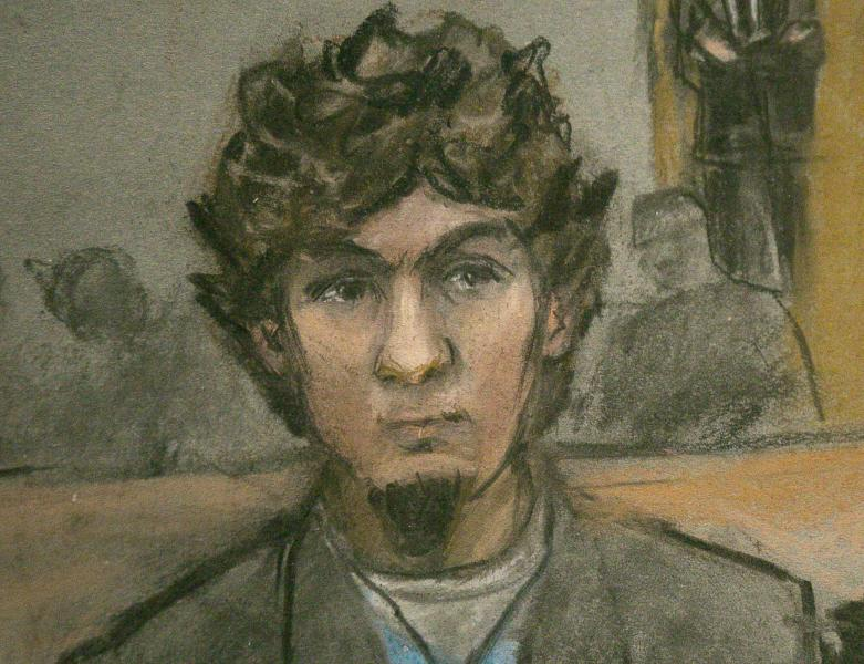 A courtroom sketch shows Boston Marathon bombing suspect Dzhokhar Tsarnaev as the verdict is read at the federal courthouse in Boston, Massachusetts April 8, 2015. Tsarnaev was found guilty on Wednesday of the 2013 Boston Marathon bombing that killed three people and injured 264 others, and the jury will now decide whether to sentence him to death.  REUTERS/Jane Flavell Collins     NO SALES. NO ARCHIVES. FOR EDITORIAL USE ONLY. NOT FOR SALE FOR MARKETING OR ADVERTISING CAMPAIGNS