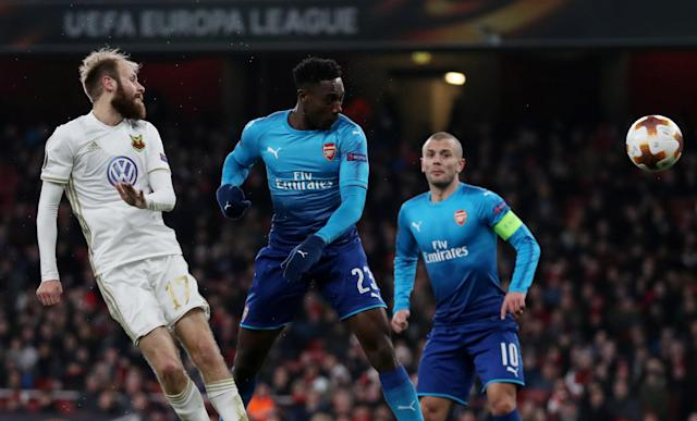 Soccer Football - Europa League Round of 32 Second Leg - Arsenal vs Ostersunds FK - Emirates Stadium, London, Britain - February 22, 2018 Arsenal's Danny Welbeck heads at goal Action Images via Reuters/Peter Cziborra