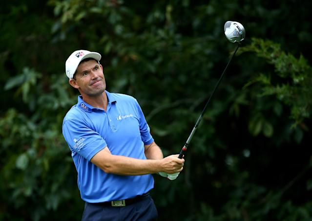 Padraig Harrington of Ireland hits his tee shot on the 18th hole during the second round of the 96th PGA Championship at Valhalla Golf Club on August 8, 2014 in Louisville, Kentucky (AFP Photo/Andy Lyons)