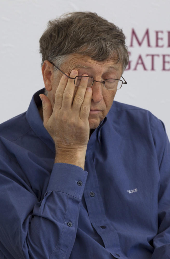 Microsoft Chairman Bill Gates gestures during the inauguration of a new research center for the International Center for Improvement of Corn and Wheat (CIMMYT) in Texcoco, Mexico, Wednesday, Feb. 13, 2013. Gates teamed up with Mexican telecommunications tycoon Carlos Slim teamed up to fund new seed breeding research, which the CIMMYT says aims to sustainably increase the productivity of maize and wheat systems to ensure global food security and reduce poverty. (AP Photo/Eduardo Verdugo)