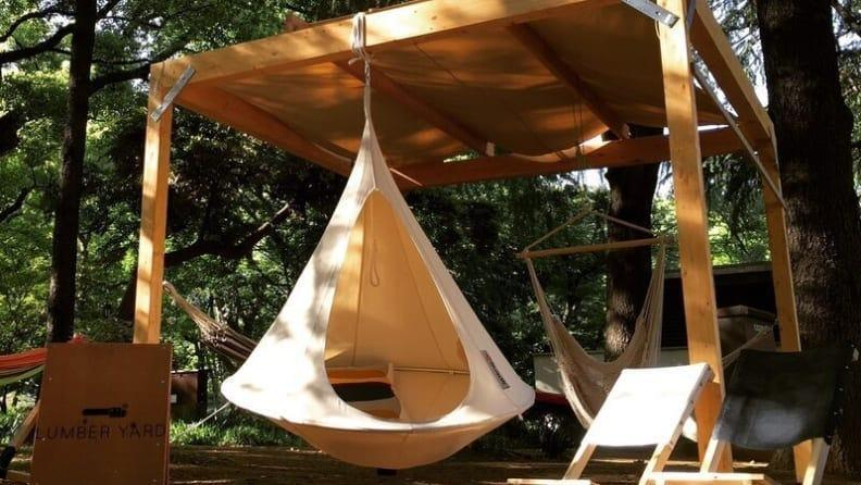 This unique hammock is incredibly cozy and welcoming.