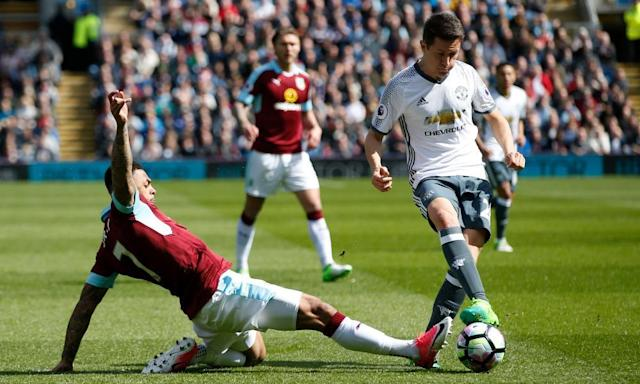 """<span class=""""element-image__caption"""">Ander Herrera helped Manchester United to an important 2-0 win at Burnley on Sunday.</span> <span class=""""element-image__credit"""">Photograph: Andrew Yates/Reuters</span>"""