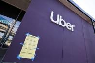 An Uber logo is seen in Redondo Beach, Los Angeles