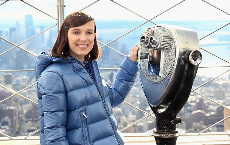 NEW YORK, NY - NOVEMBER 20: Actress Millie Bobby Brown lights The Empire State Building in honor of Unicef and World Children's Day on November 20, 2018 in New York City. (Photo by Jim Spellman/WireImage)