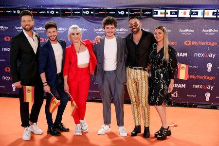 "Contestants Miki of Spain pose on the ""Orange Carpet"" during the opening ceremony of the 2019 Eurovision Song Contest in Tel Aviv, Israel May 12, 2019. REUTERS/Amir Cohen"
