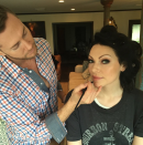 'Orange Is The New Black' star, Laura Prepon, shared her choice of opting for defined eyes but a natural lip, with hair-curlers and all. @lauraprepon/Instagram