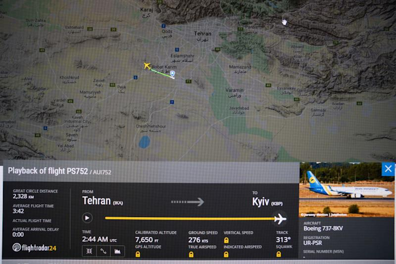 Flightradar24.com showing the flight track of Ukraine international airlines flight which reportedly crashed shortly after take off. Source: Getty Images