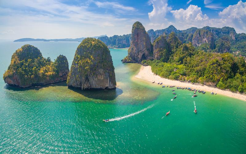 Aerial View of Maya Bay Paradise Beach from Krabi Thailand