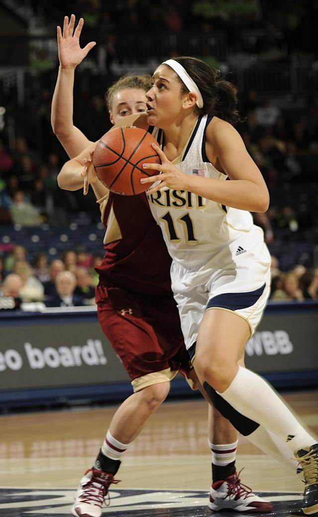 Notre Dame forward Natalie Achonwa, right, drives the lane as Boston College guard Nicole Boudreau defends in the first half of an NCAA college basketball game, Thursday, Jan. 9, 2014 in South Bend, Ind. (AP Photo/Joe Raymond)